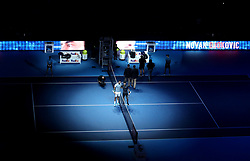 Marin Cilic and Novak Djokovic ahead of their singles match on during day six of the Nitto ATP Finals at The O2 Arena, London.