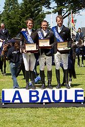 Poium of the Grand Prix Longines de la ville de La Baule<br /> 1. Eric Lamaze<br /> 2. Peneloppe Leprevost<br /> 3. Carsten Otto Nagel<br /> CSIO La Baule 2011<br /> © Dirk Caremans
