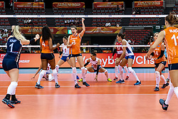 11-10-2018 JPN: World Championship Volleyball Women day 12, Nagoya<br /> Netherlands - Serbia 3-0 / Celeste Plak #4 of Netherlands, Yvon Belien #3 of Netherlands, /nl