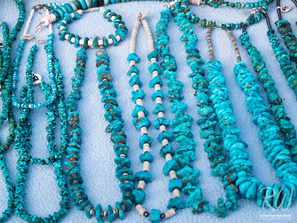 Navajo Hand-crafted Turquoise Necklaces at Oak Creek Canyon Vista, Coconino National Forest, Arizona