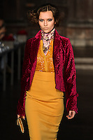 Model walks down runway for F2012 L'Wren Scott's collection in Mercedes Benz fashion week in New York on Feb 10, 2012 NYC