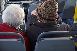 Elderly couple on bus, Aberystwyth Wales