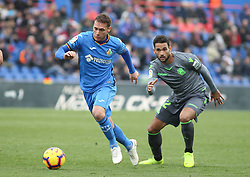 December 15, 2018 - Getafe, Madrid, Spain - Cristoforo of Getafe and William Jose of Real Sociedad in action during La Liga Spanish championship, , football match between Getafe and Real Sociedad, December 15, in Coliseum Alfonso Perez in Getafe, Madrid, Spain. (Credit Image: © AFP7 via ZUMA Wire)