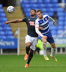 Derby County's Jordan Ibe battles for the ball with Reading's Chris Gunter - Photo mandatory by-line: Alex James/JMP - Mobile: 07966 386802 - 18/10/2014 - SPORT - Football - Reading - Madejski Stadium - Reading v Derby County - Sky Bet Championship