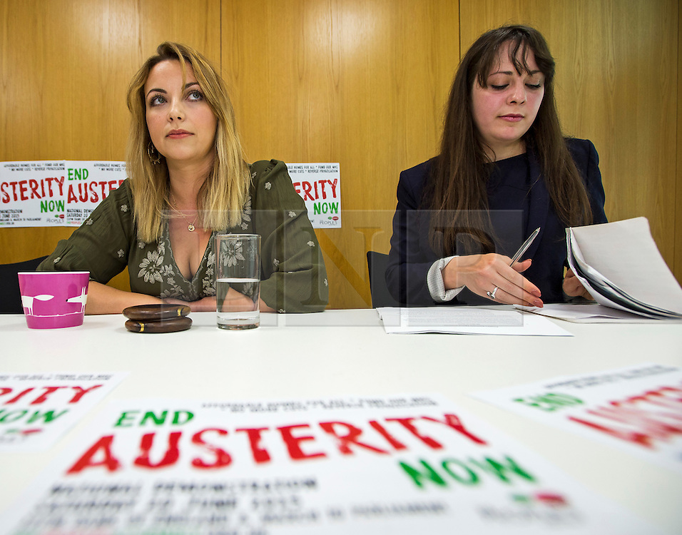 © Licensed to London News Pictures. 04/06/2015. L to R CHARLOTTE CHURCH (singer) and AMELIA WOMACK (deputy leader of the green party).  Singer and activist CHARLOTTE CHURCH takes part in a panel press conference at the Unite Union building in London, ahead of an anti-austerity demonstration on June 20th. London, UK. Photo credit: Ben Cawthra/LNP
