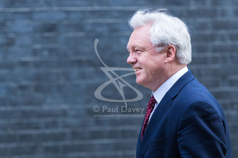 Downing Street, London, March 7th 2017. Secretary of State for Exiting the European Union David Davis arrives in Downing Street for a mini cabinet meeting ahead of the Chancellor's March 8th budget.