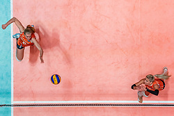 28-05-2019 NED: Volleyball Nations League Netherlands - Brazil, Apeldoorn<br /> <br /> Anniek Siebring of Netherlands, Laura Dijkema #14 of Netherlands