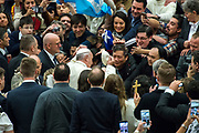 Pope Francis arrives for his weekly general audience at the Paul VI hall on January 10, 2018 at the Vatican.
