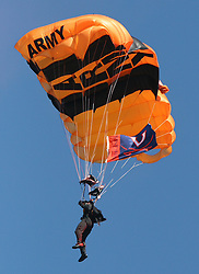 A member of the Army Golden Knights parachutes into Scott Stadium before the UVA vs. VT football game.  The Virginia Tech Hokies defeated The Virginia Cavaliers 52-14 on November 19, 2005 at Scott Stadium in Charlottesville, VA.