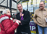 © Licensed to London News Pictures. 27/02/2013. Eastleigh, UK UKIP leader jokes with a member of the public whilst out canvassing on Market Street. Campaigning in the weeks ahead of The Liberal Democrats winning the Eastleigh by-election, with the UK Independence Party pushing the Conservatives into third place.. Photo credit : Stephen Simpson/LNP