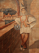 Painting of a Turkish Jew, from the collection of the Crespo Lopez family exhibited in the 16th century Palacio de los Olvidados or Palace of the Forgotten, in El Albayzin, the medieval Moorish old town of Granada, Andalusia, Southern Spain. The Palace is one of the few remaining old aristocratic houses in good condition, thought to belong to a Jew and now housing artefacts of Jewish culture and history. During the Spanish Inquisition, many Spanish Jews fled to Turkey, where Jews were welcomed. Granada was listed as a UNESCO World Heritage Site in 1984. Picture by Manuel Cohen