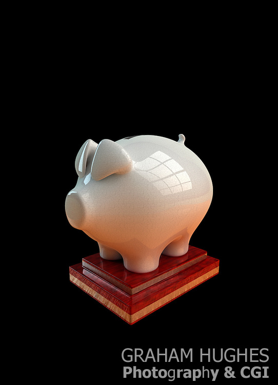 Antique White Piggy Bank On Wooden Plinth.