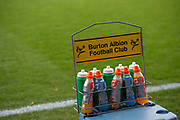 General view of Burton Albion drinks bottles inside Glanford Park before during the The FA Cup 1st round match between Scunthorpe United and Burton Albion at Glanford Park, Scunthorpe, England on 10 November 2018.