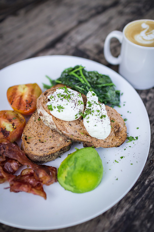 Brekkie Plate and Flat White at Crate Cafe.