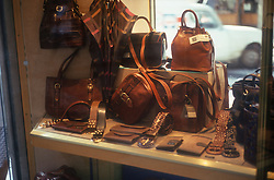 Leather goods displayed in shop window,