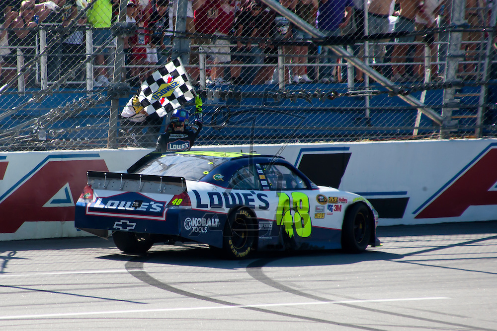 TALLADEGA, AL - APR 17, 2011: Jimmie Johnson wins the Aaron's 499 at the Talladega Superspeedway in Talladega, AL.
