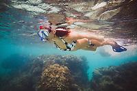 Karen Jones snorkeling in Emerald Bay, the Exumas, Bahamas.