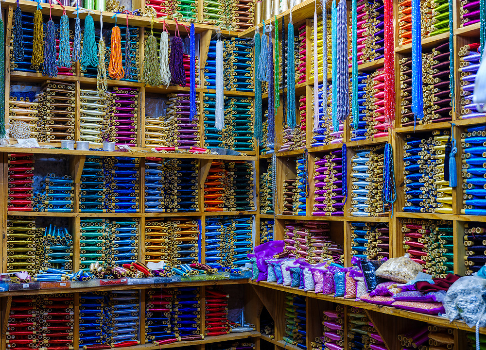 CHEFCHAOUEN, MOROCCO - CIRCA APRIL 2017:  Shop selling silk thread spools in Chefcahouen
