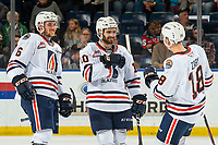 KELOWNA, BC - OCTOBER 12: Sean Strange #6 and Connor Zary #18 congratulate Max Martin #10 of the Kamloops Blazers on a goal against the Kelowna Rockets at Prospera Place on October 12, 2019 in Kelowna, Canada. (Photo by Marissa Baecker/Shoot the Breeze)