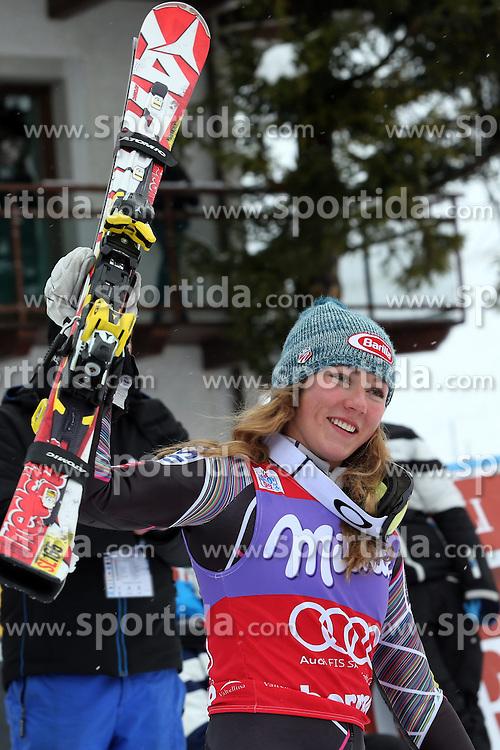 05.01.2014, Stelvio, Bormio, ITA, FIS Ski Alpin Weltcup, Salom, Damen, Siegerpraesentation, im Bild Mikaela Shiffrin // Mikaela Shiffrin celebrate on podium after the ladies Slalom of the Bormio FIS Ski World Cup at the Stelvio Course in Bormio, Italy on 2014/01/05. EXPA Pictures &copy; 2014, PhotoCredit: EXPA/ Sammy Minkoff<br /> <br /> *****ATTENTION - OUT of GER*****