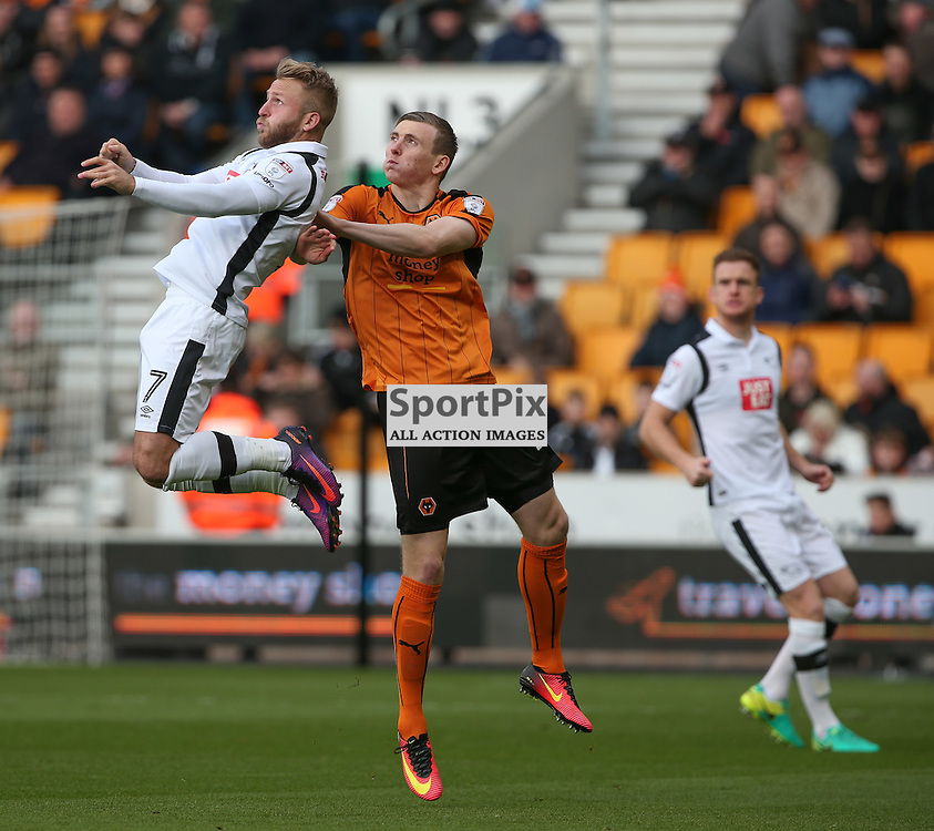 WOLVERHMPTON, UNITED KINGDOM 05 NOVEMBER 2016:  Johnny Russell Derby County No. 6 wins the ball during the league game between Wolverhampton Wanderers and Derby County in the Football League Championship at Molineux Stadium, on November 05, 2016 in Wolverhampton, England. (Photo by Michael Poole)