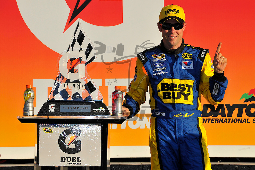 Daytona Beach, FL - FEB 23, 2012:  Matt Kenseth (17) wins the Gatorade Duel 2 race at the Daytona International Speedway in Daytona Beach, FL.