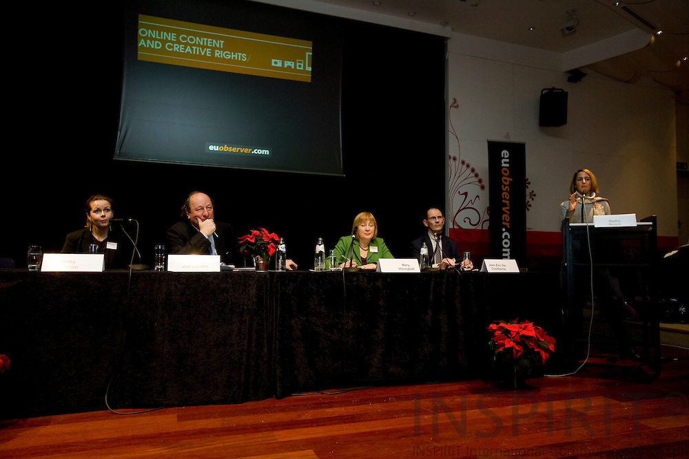 BRUSSELS - BELGIUM - 01 DECEMBER 2009 -- Online content and creative rights conference-- From left MEP Cecilia Wikstroem, Joerg Evers, Chairman Board of Supervisors, GEMA, MEP Mary Honeyball, Jean-Eric de Cockborne, Head of Unit, Audiovisual and Media Section at EC, and moderator Saskia Horsch, Director Cambre Associates. PHOTO: ERIK LUNTANG