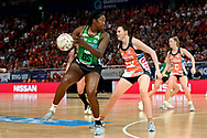 SYDNEY, AUSTRALIA - AUGUST 24: Jhaniele Fowler of the West Coast Fever takes the ball during the round 14 Super Netball match between the Giants and the West Coast Fever at Qudos Bank Arena on August 24, 2019 in Sydney, Australia.(Photo by Speed Media/Icon Sportswire)