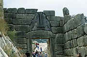 Lion Gate, Mycenae. Photograph with tourists.