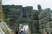 Lion Gate, Mycenae. Photograph with tourists.