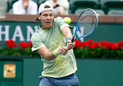 March 10, 2018 - Indian Wells, CA, U.S. - INDIAN WELLS, CA - MARCH 10: Thomas Berdych ( CZE ) hits a backhand during the second round of the BNP Paribas Open on March 10, 2018, at the Indian Wells Tennis Gardens in Indian Wells, CA. (Photo by Adam  Davis/Icon Sportswire) (Credit Image: © Adam Davis/Icon SMI via ZUMA Press)