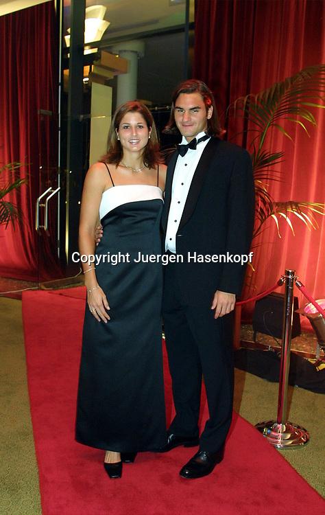 Sport,Tennis,Hopman Cup in Perth,Australien,Mixed<br /> Doubles WM,Roger Federer, Freundin Miroslava Vavrinec beim Silvester Ball, 31.12.2001.
