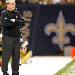 November 6, 2011; New Orleans, LA, USA; New Orleans Saints assistant head coach and linebackers coach Joe Vitt watches from the sideline during the second half of a game against the Tampa Bay Buccaneers at the Mercedes-Benz Superdome. The Saints defeated the Buccaneers 27-16. Mandatory Credit: Derick E. Hingle-US PRESSWIRE