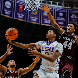 Jan 23, 2018; Baton Rouge, LA, USA; LSU Tigers guard Brandon Rachal (2) shoots over Texas A&M Aggies forward Robert Williams (44) during the second half at the Pete Maravich Assembly Center. LSU defeated Texas A&M 77-65. Mandatory Credit: Derick E. Hingle-USA TODAY Sports