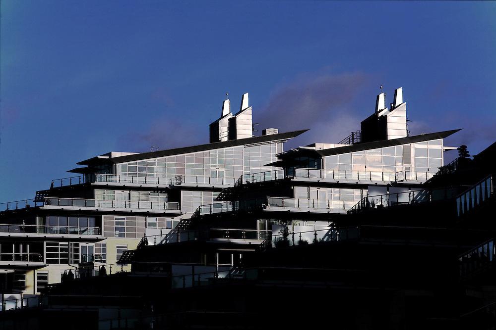 Riverside Apartments development alongside the Thames River London
