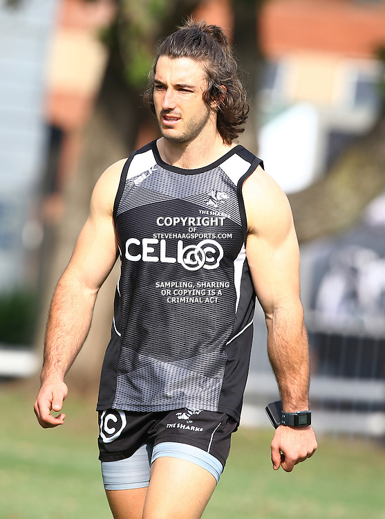 DURBAN, SOUTH AFRICA - JULY 09: Paul Jordaan during the Cell C Sharks training session at Growthpoint Kings Park on July 09, 2015 in Durban, South Africa. (Photo by Steve Haag)