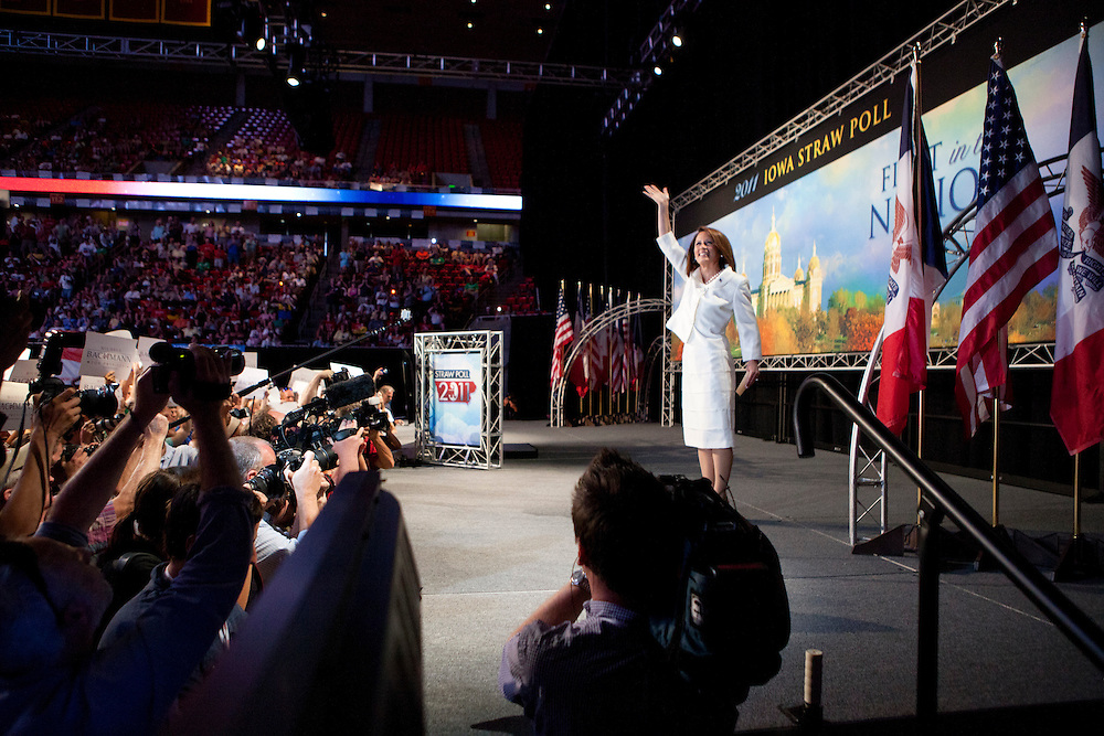 Republican presidential hopeful Michele Bachmann waves from the stage at the Iowa Republican Straw Poll on Saturday, August 13, 2011 in Ames, IA.