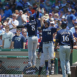 July 6, 2017 - Chicago, IL, USA - Milwaukee Brewers left fielder Ryan Braun (8) and teammate Hernan Perez (14) celebrate after Braun's two-run home run in the third inning against the Chicago Cubs at Wrigley Field Thursday, July 7, 2017, in Chicago. (Credit Image: © John J. Kim/TNS via ZUMA Wire)