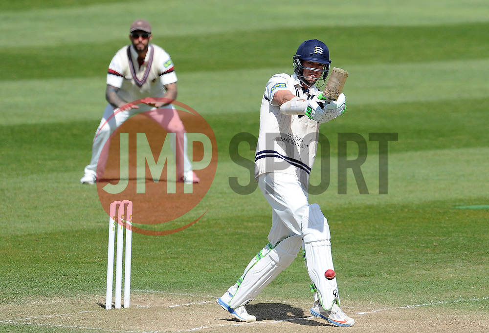 Middlesex's James Franklin pulls the ball. - Photo mandatory by-line: Harry Trump/JMP - Mobile: 07966 386802 - 29/04/15 - SPORT - CRICKET - LVCC Division One - County Championship - Somerset v Middlesex - Day 4 - The County Ground, Taunton, England.