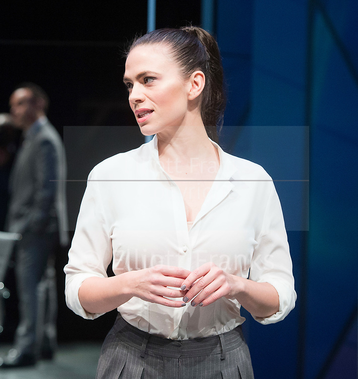 Dry Powder<br /> by Sarah Burgess<br /> Directed by Anna Ledwich at the <br /> Hampstead Theatre, London, Great Britain <br /> 31st January 2018 <br /> Press photocall <br /> <br /> Hayley Atwell as Jenny<br /> <br /> <br /> Designed by Andrew D Edwards <br /> Lighting by Elliot Griggs<br /> Sound by Max Pappenheim <br /> Video by Ian William Galloway<br /> <br /> Photograph by Elliott Franks
