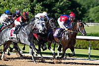 HOT SPRINGS, AR - MAY 02:  Horse #11 Rushie passes #10 Prodigious Bay out of the gate at the start of the 10th race at Oaklawn Racing Casino Resort on Derby Day during the Covid-19 Pandemic on May 2, 2020 in Hot Springs, Arkansas. (Photo by Wesley Hitt/Getty Images)