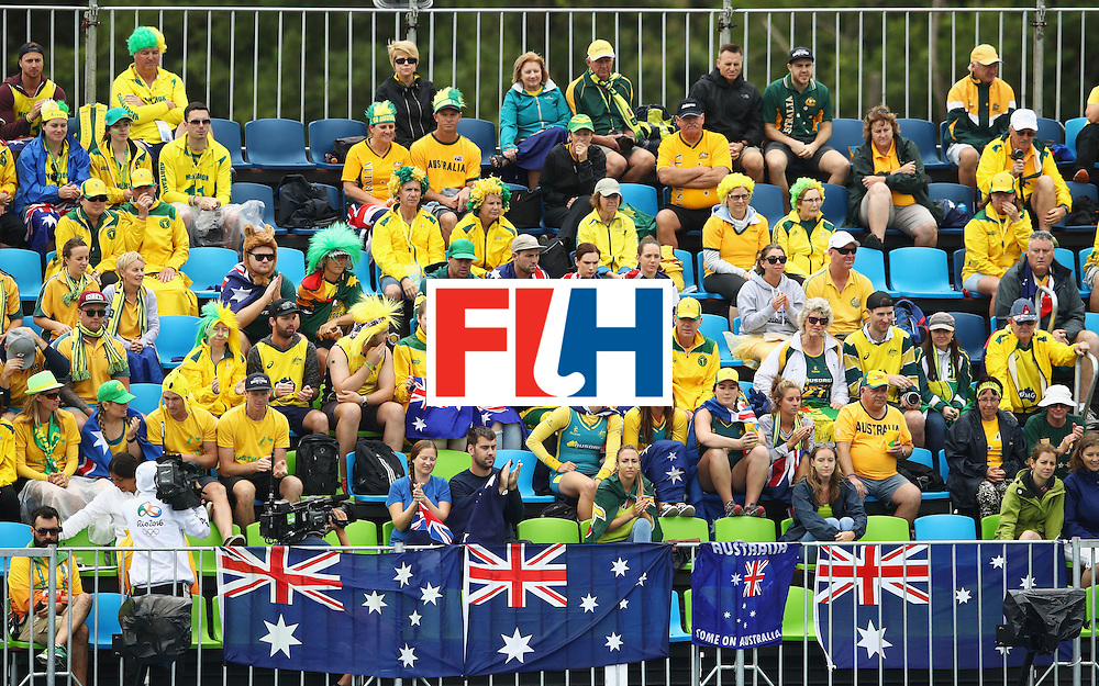 RIO DE JANEIRO, BRAZIL - AUGUST 10:  Australia fans show their support during the Women's Pool B Match between India and Australia on Day 5 of the Rio 2016 Olympic Games at the Olympic Hockey Centre on August 10, 2016 in Rio de Janeiro, Brazil.  (Photo by Mark Kolbe/Getty Images)