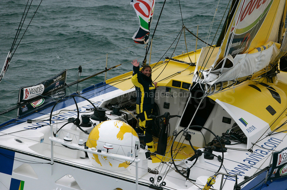 SAILING - ROUND THE WORLD RACE - VENDEE GLOBE 2008/2009 - LES SABLES D'OLONNE (FRA) - 09/11/08 .PHOTO : JEAN MARIE LIOT / DPPI.AVIVA - SKIPPER : DEE CAFFARI (GBR)