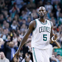 13 February 2013: Boston Celtics power forward Kevin Garnett (5) reacts during the Boston Celtics 71-69 victory over the Chicago Bulls at the TD Garden, Boston, Massachusetts, USA.