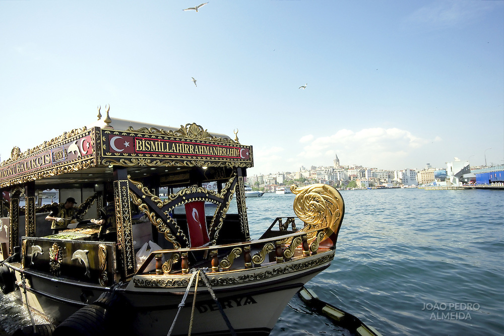 One of the traditional reastaurant boats at Istanbul