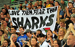 Plenty of Shark fans in Melbourne.Melbourne Rebels v The Sharks.Rugby Union - 2011 Super Rugby.AAMI Park, Melbourne VIC Australia.Friday, 11 March 2011.© Sport the library / Jeff Crow