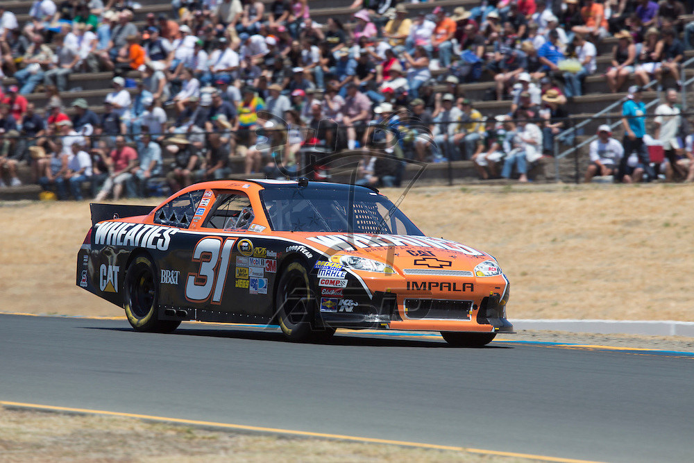 SONOMA, CA - JUN 24, 2012:  Jeff Burton (31) brings his car through the turns during the Toyota Save Mart 350 at the Raceway at Sonoma in Sonoma, CA.