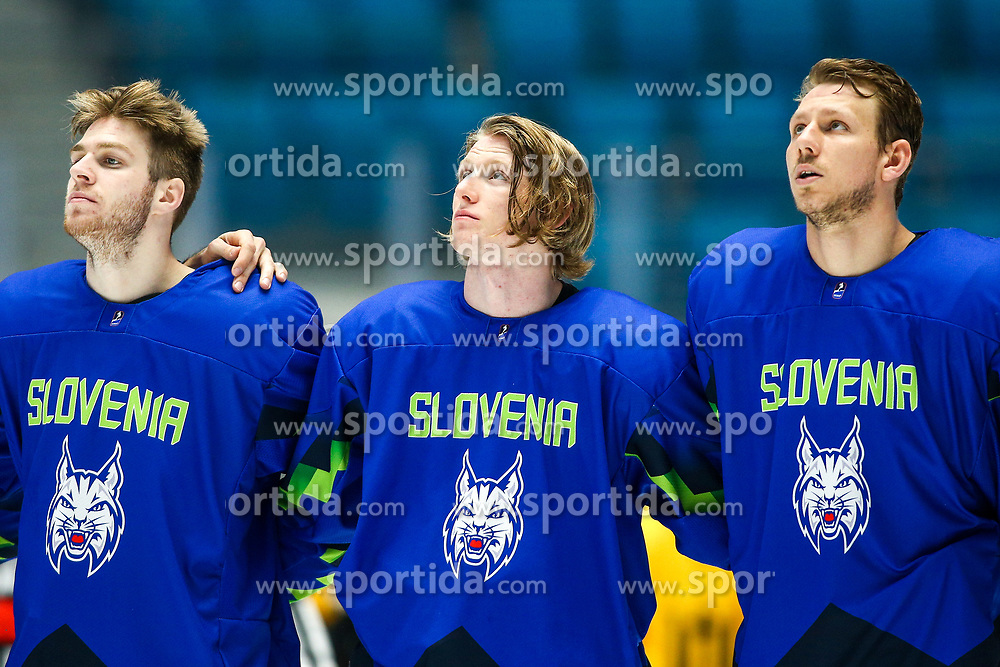 Miha Zajc of Slovenia, Jan Drozg of Slovenia and Miha Stebih of Slovenia during national anthem after ice hockey match between Slovenia and Lithuania at IIHF World Championship DIV. I Group A Kazakhstan 2019, on May 5, 2019 in Barys Arena, Nur-Sultan, Kazakhstan. Photo by Matic Klansek Velej / Sportida