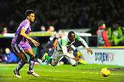 Plymouth Argyle's Curtis Nelson brings down Yeovil Town's Francois Zoko during the Sky Bet League 2 match between Yeovil Town and Plymouth Argyle at Huish Park, Yeovil, England on 23 February 2016. Photo by Graham Hunt.