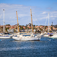 Photo of Newport Harbor boats in Newport Beach Orange County California. Newport Beach is a wealthy beach community along the Pacific Ocean in Southern California. Photo is high resolution and was taken in 2012.